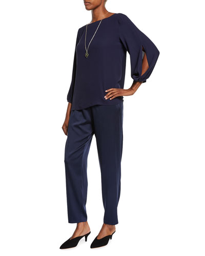 Split-Sleeve Silk Crepe Blouse and Matching Items