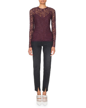 a099b63659bc Givenchy Long-Sleeve Lace Illusion Blouse Leather Detail Skinny Ankle Pants
