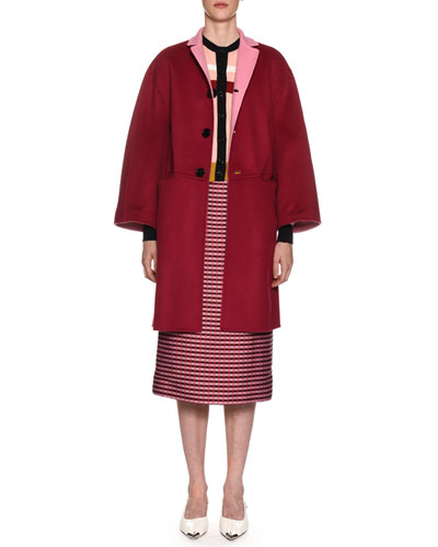 Reversible Button-Front Double-Face Wool-Cashmere Coat and Matching Items