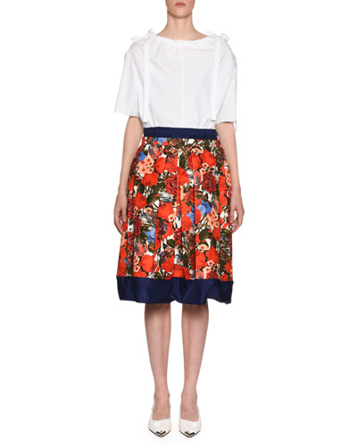 Ruched Bateau-Neck Short-Sleeve Cotton Poplin Blouse and Matching Items