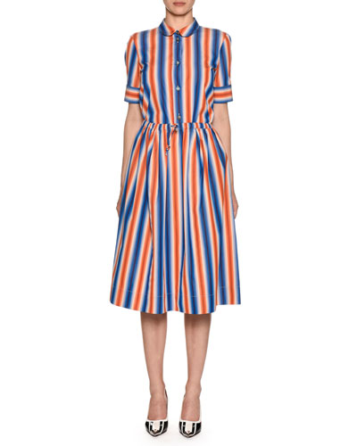 Short-Sleeve Button-Front Striped Cotton Poplin Blouse and Matching Items