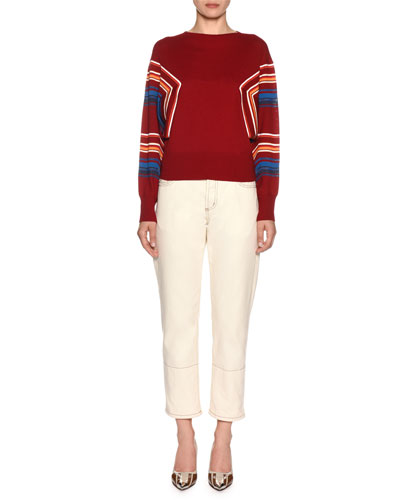 Butterfly-Sleeve Striped Knit Pullover Sweater and Matching Items