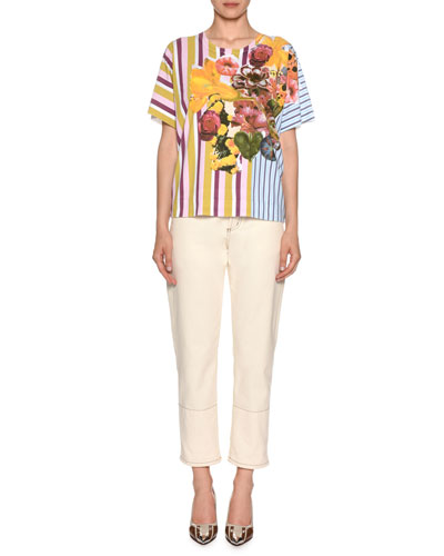 Short-Sleeve Crewneck Striped & Floral-Print Cotton T-Shirt and Matching Items