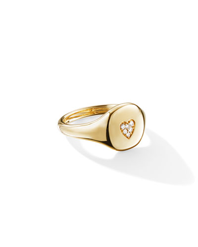 18k Gold Diamond Heart Pinky Ring, Size 2.5 and Matching Items