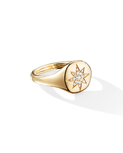 18k Gold Diamond Compass Pinky Ring, Size 2.5 and Matching Items
