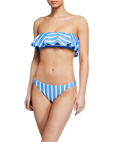 Ruffle Bandeau Striped Bikini Top and Matching Items