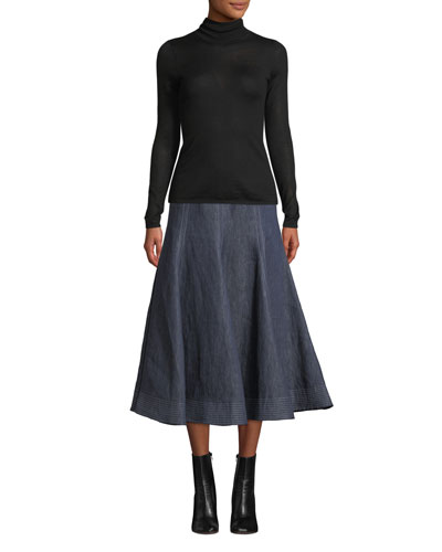 Costa Long-Sleeve Turtleneck Thin-Rib Cashmere-Silk Sweater and Matching Items