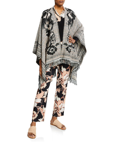 Floral Embroidered Wool-Cotton Tweed Cape and Matching Items