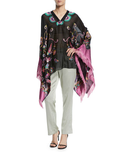 Fringe-Trim Embroidered Silk-Chiffon Poncho and Matching Items
