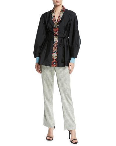 Sequined-Lapel Taffeta Tie-Waist Jacket and Matching Items