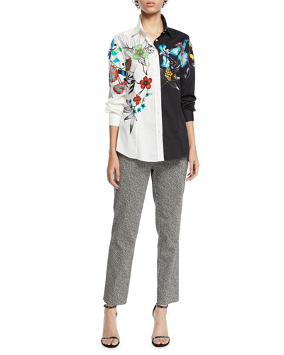 Two-Tone Button-Front Floral-Print Poplin Blouse and Matching Items