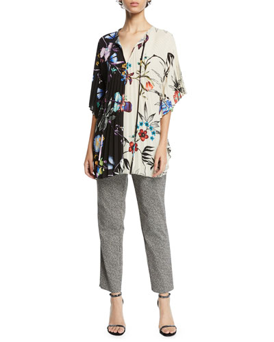 Two-Tone Button-Front Floral-Print Accordion Blouse and Matching Items