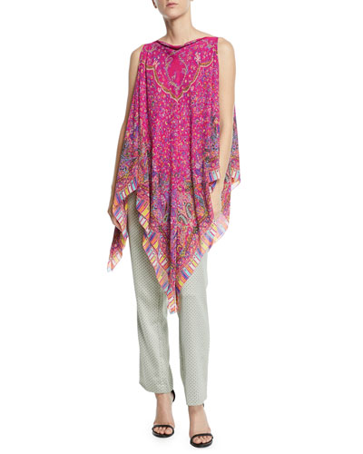 Convertible Printed Silk Poncho and Matching Items