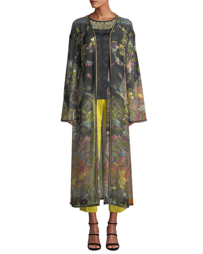 Long Paisley Print Chiffon Coat and Matching Items