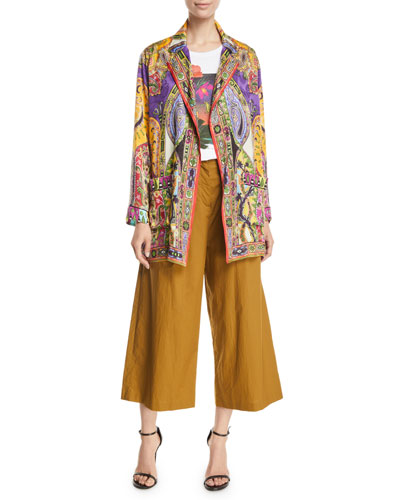 Paisley-Jacquard Open-Front Blazer and Matching Items