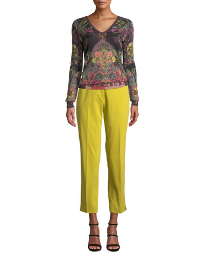V-Neck Metallic Pop Art Paisley Sweater and Matching Items