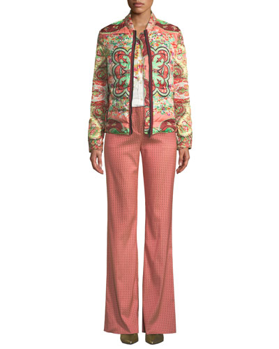 Garden Floral Paisley Quilted Zip-Front Jacket and Matching Items