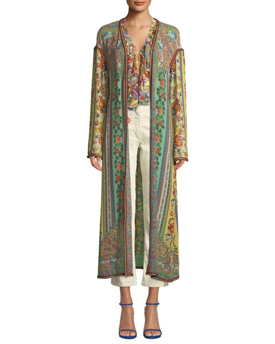 Long Ribbon-Trimmed Floral Silk Coat and Matching Items