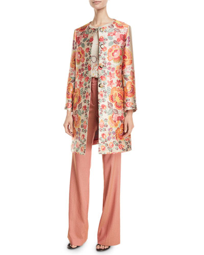 3/4-Sleeve Floral-Deco Jacquard Coat and Matching Items