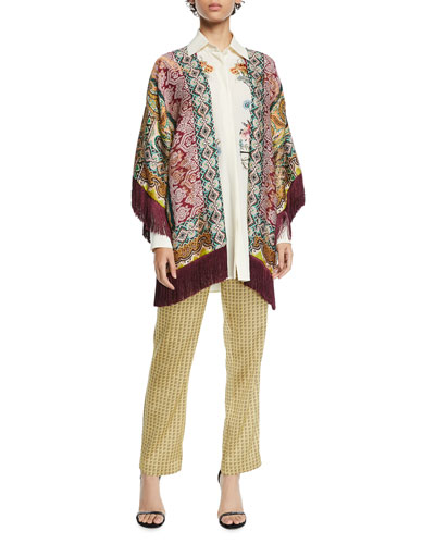 Metallic-Brocade Kesa Poncho Cardigan and Matching Items