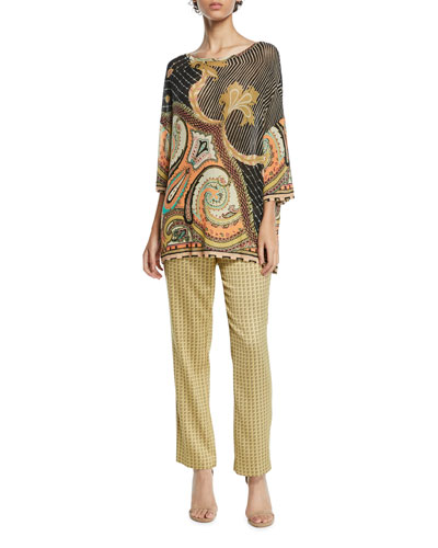 Jungle-Paisley Gauze-Knit Tunic Sweater and Matching Items
