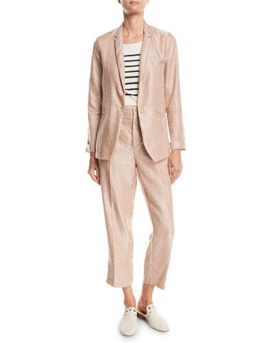 Iridescent Linen Satin Single-Button Jacket and Matching Items