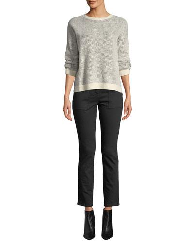 Organic Cotton-Blend Long-Sleeve Sweater w/ Rib Trim and Matching Items