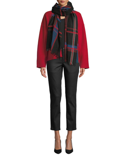 Chenille Plaid Wool Scarf, Petite and Matching Items