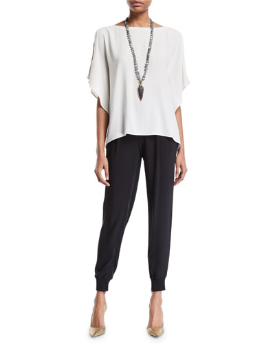 Open-Sleeve Silk Crepe Blouse and Matching Items