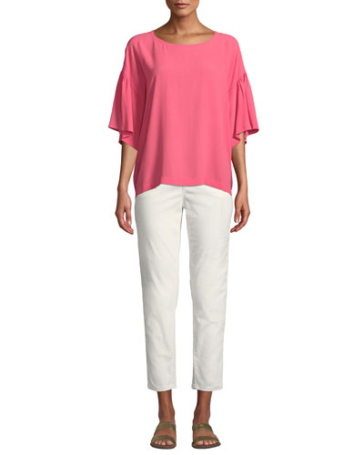 Scoop-Neck Elbow-Sleeve Silk Crepe Top and Matching Items