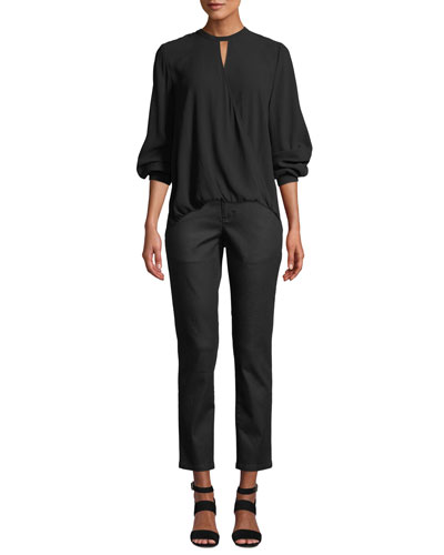 Overlap-Front Silk Crepe Blouse  and Matching Items