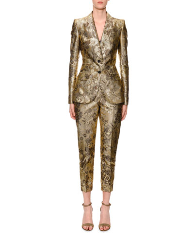 Two-Button Shawl-Collar Metallic Floral-Jacquard Jacket and Matching Items