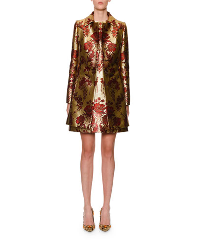 Sleeveless Metallic Floral-Jacquard A-Line Dress and Matching Items