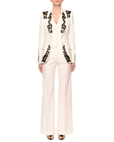 Filigree-Embroidered Single-Breasted Blazer Jacket  and Matching Items