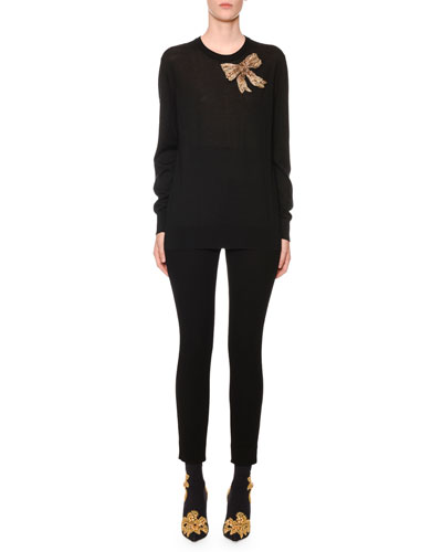 Embellished-Bow Crewneck Knit Sweater and Matching Items