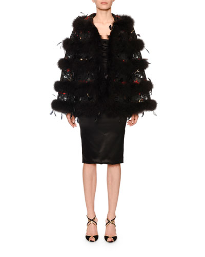 Ostrich-Feather Brocade Cape and Matching Items