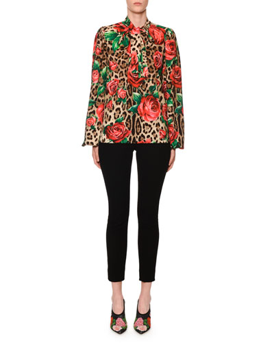 Tie-Neck Long-Sleeve Rose & Leopard-Print Charmeuse Blouse and Matching Items