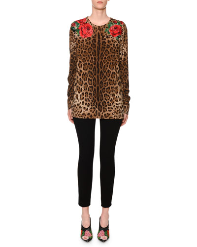 Long-Sleeve Rose & Leopard-Print Knit Sweater and Matching Items