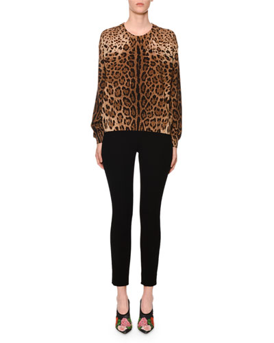 Cashmere Leopard-Print Crewneck Sweater and Matching Items