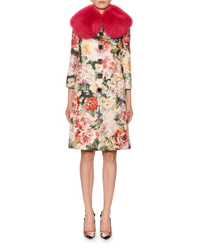Dolce   Gabbana Shimmer Poppy Brocade Coat w  Faux-Fur Collar Poppy-Brocade acde99a967