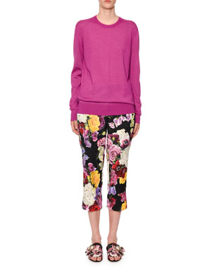 bad0610a533d Dolce   Gabbana Crewneck Long-Sleeve Cashmere-Silk Sweater Multicolor  Floral-Brocade Straight