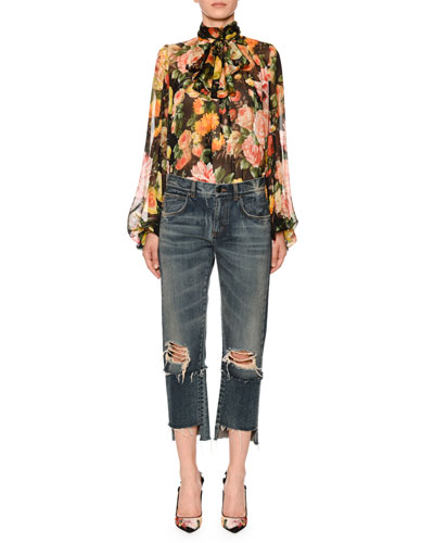 Scarf-Neck Blouson-Sleeve Floral-Print Chiffon Blouse and Matching Items