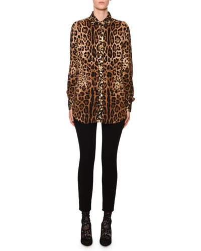 Leopard-Print Sequin-Trim Button-Front Blouse and Matching Items