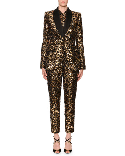 Sequined Leopard-Print Single-Breasted Blazer and Matching Items