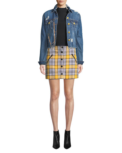 Cara Distressed Cropped Jean Jacket and Matching Items