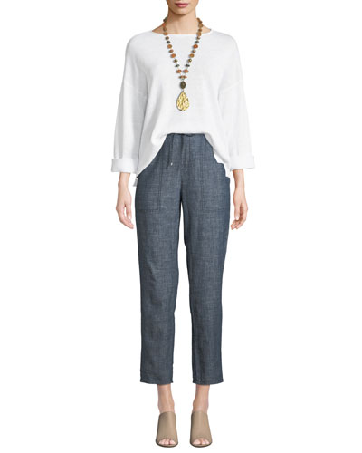 3/4-Sleeve Organic Linen Sweater  and Matching Items
