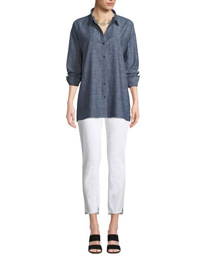 Button-Front Long-Sleeve Chambray Blouse w/ Notched Bottom and Matching Items
