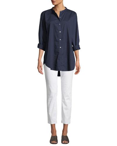 Mandarin-Collar Button-Front Shirt  and Matching Items