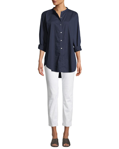 Mandarin-Collar Button-Front Shirt  and Matching Items, Plus Size