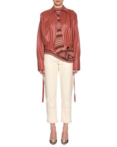 Soft Napa Leather Blouson Jacket w/ Ruching  and Matching Items